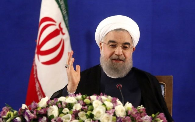 Iranian President Hassan Rouhani speaks during a press conference in Tehran on May 22, 2017. (AFP/ Atta Kenare)