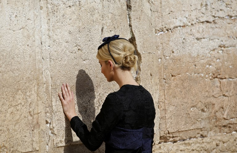 Ivanka Trump, the daughter of US President Donald Trump, visits the Western Wall, the holiest site where Jews can pray, in Jerusalem's Old City on May 22, 2017. (AFP PHOTO / POOL / RONEN ZVULUN)