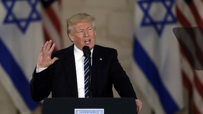US President Donald Trump delivers a speech at the Israel Museum in Jerusalem on May 23, 2017. (AFP Photo/Menahem Kahana)
