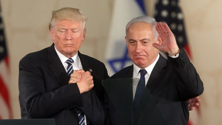 US President Donald Trump (L) and Prime Minister Benjamin Netanyahu wave after delivering a speech at the Israel Museum in Jerusalem on May 23, 2017. (Gil Cohen-Magen/AFP)