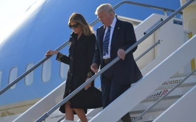 US President Donald Trump and First Lady Melania Trump step off Air Force One upon arrival at Rome's Fiumicino Airport on May 23, 2017. (Mandel Ngan/AFP)