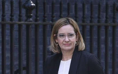Britain's Home Secretary Amber Rudd arrives at Downing Street in central London on May 24, 2017, (AFP/Justin TALLIS)