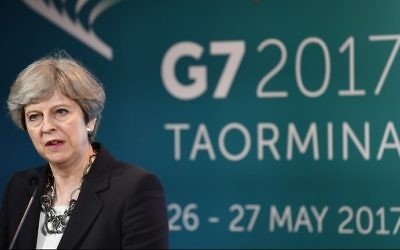 Britain's Prime Minister Theresa May gives a press conference during the G7 on May 26, 2017, in Taormina, Sicily. (AFP Photo/Justin Tallis)