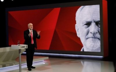 British Labour Party leader Jeremy Corbyn answers questions from the studio audience as he takes part in the 'May v Corbyn Live: The Battle for Number 10,' Sky News and Channel 4 event at Sky Studios in London, May 29, 2017. (AFP/Pool/Stefan Rousseau)