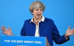 Britain's Prime Minister Theresa May delivers a general election campaign speech in Wolverhampton, central England, on May 30, 2017, as campaigning continues in the build up to the general election on June 8. (AFP/Leon Neal)