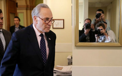 Senate Minority Leader Chuck Schumer (D-NY) arrives for a news conference at the US Capitol following the firing of Federal Bureau of Investigation Director James Comey by President Donald Trump May 9, 2017 in Washington, DC. (Chip Somodevilla/Getty Images/AFP)