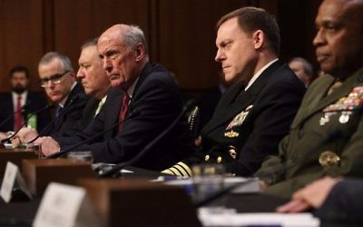The heads of the United States intelligence agencies (L-R) Acting FBI Director Andrew McCabe, Central Intelligence Agency Director Mike Pompeo, Director of National Intelligence Daniel Coats, National Security Agency Director Adm. Michael Rogers, and Defense Intelligence Agency Director Lt. Gen. Vincent Stewart testify before the Senate Intelligence Committee in the Hart Senate Office Building on Capitol Hill May 11, 2017 in Washington, DC. (Alex Wong/Getty Images/AFP)