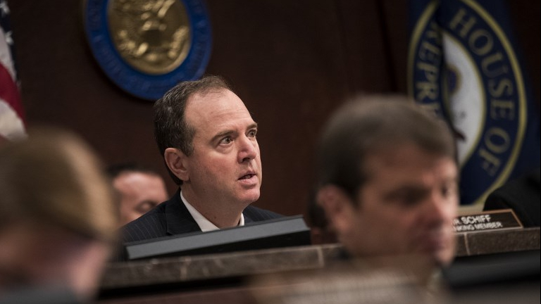 Ranking member Rep. Adam Schiff (D-CA) delivers his opening statement as former Director of the US Central Intelligence Agency (CIA) John Brennan testifies before the House Permanent Select Committee on Intelligence on Capitol Hill, May 23, 2017 in Washington, DC. (Drew Angerer/Getty Images AFP)