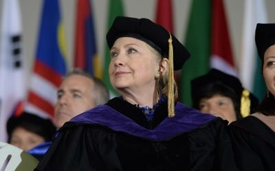 Hillary Clinton listens during commencement at Wellesley College May 26, 2017 in Wellesley, Massachusetts. Clinton graduated from Wellesley College in 1969. (Darren McCollester/Getty Images/AFP)