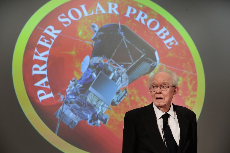 University of Chicago astrophysicist Dr. Eugene Parker listens as NASA officials announce plans to deploy a solar probe into the sun's atmosphere for the first time on May 31, 2017 in Chicago, Illinois. (Scott Olson/Getty Images/AFP)