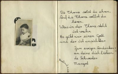A page from an album created by Ester Goldstein dedicated to her sister Margot Herschenbaum. It reads: 'You should honor the Torah, You should follow the Torah, What is written in the Torah is true, There is just one God, And He is invisible. Never forget me, Your loving sister, Margot. April 2, 1939, Berlin.' (Yad Vashem)