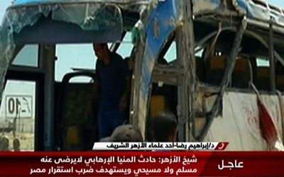 A screen capture taken from Egypt's state-run Nile News TV shows the remains of the bus that was attacked while carrying Coptic Christians in Minya province on May 26, 2017. (AFP/Nile News)