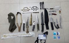 Knives and assorted weaponry found by the IDF during a raid in the West Bank city of Hebron on May 8, 2017. (IDF Spokesperson's Unit)