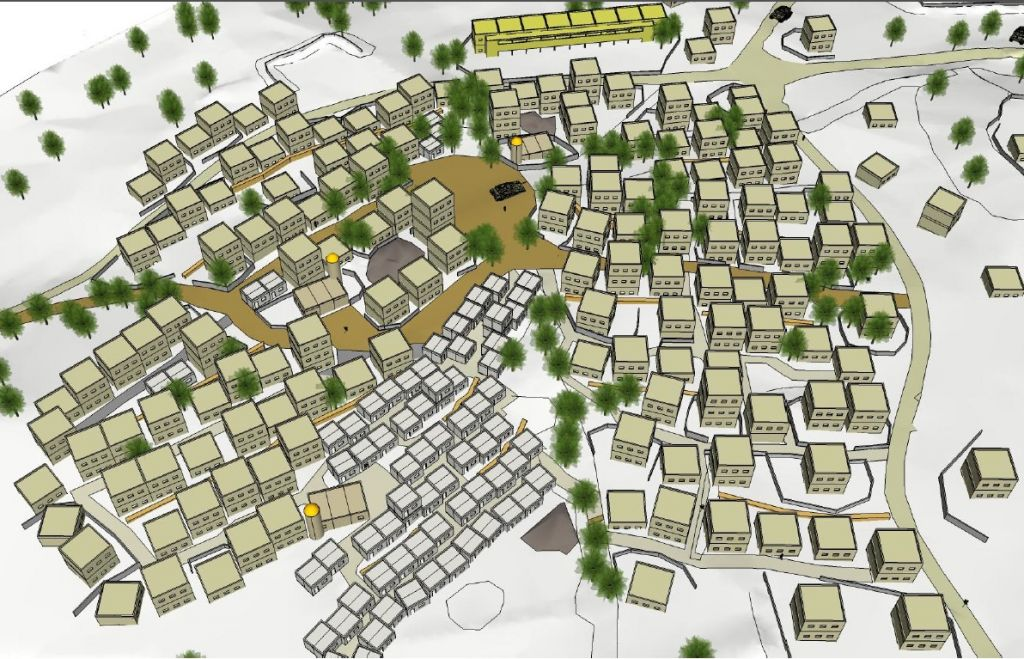 The plans for a new urban warfare training facility in northern Israel that is meant to simulate a Lebanese village, which were unveiled on May 29, 2017. (IDF Spokesperson's Unit)