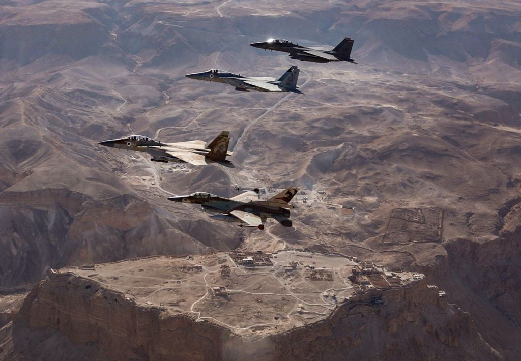 Israeli and American F-15 and F-16 fighter jets fly alongside one another over Masada, in southern Israel in May 2017. (IDF Spokesperson's Unit)