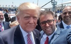 US President Donald Trump poses for a selfie with MK Oren Hazan at Ben Gurion Airport on Monday, May 22, 2017 (Oren Hazan)