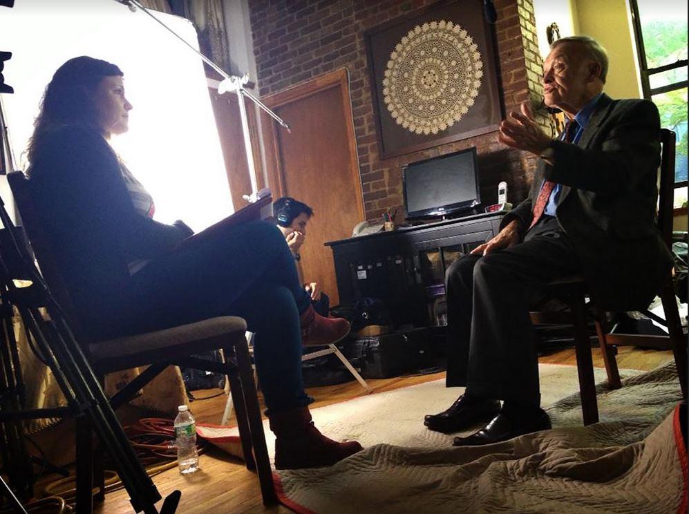 Anat Zalmanson-Kuznetsov interviewing former KGB General Oleg Kalugin on September 17, 2013 in New York City. (Courtesy)