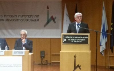 German President Frank-Walter Steinmeier at the Hebrew University in Jerusalem, May 7, 2017. (Raphael Ahren/Times of Israel)