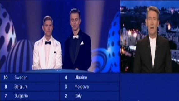 Channel 1 host Ofer Nahshon (R) announces Israel's scores in the 2017 Eurovision song contest, May 14, 2017. (Screen capture: Channel 1)