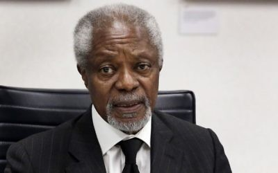 In this Monday, May 8, 2017 photo, former U.N. Secretary General Kofi Annan is interviewed at The Associated Press headquarters, in New York. (AP Photo/Richard Drew)
