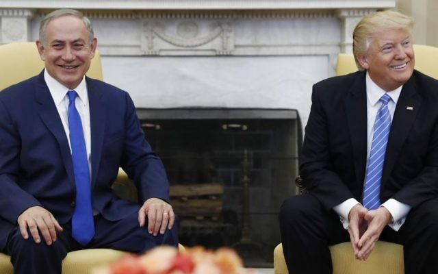 President Donald Trump and Israeli Prime Minister Benjamin Netanyahu meet in the Oval Office of the White House in Washington on Wednesday, Feb. 15, 2017. (AP Photo/Carolyn Kaster, File)