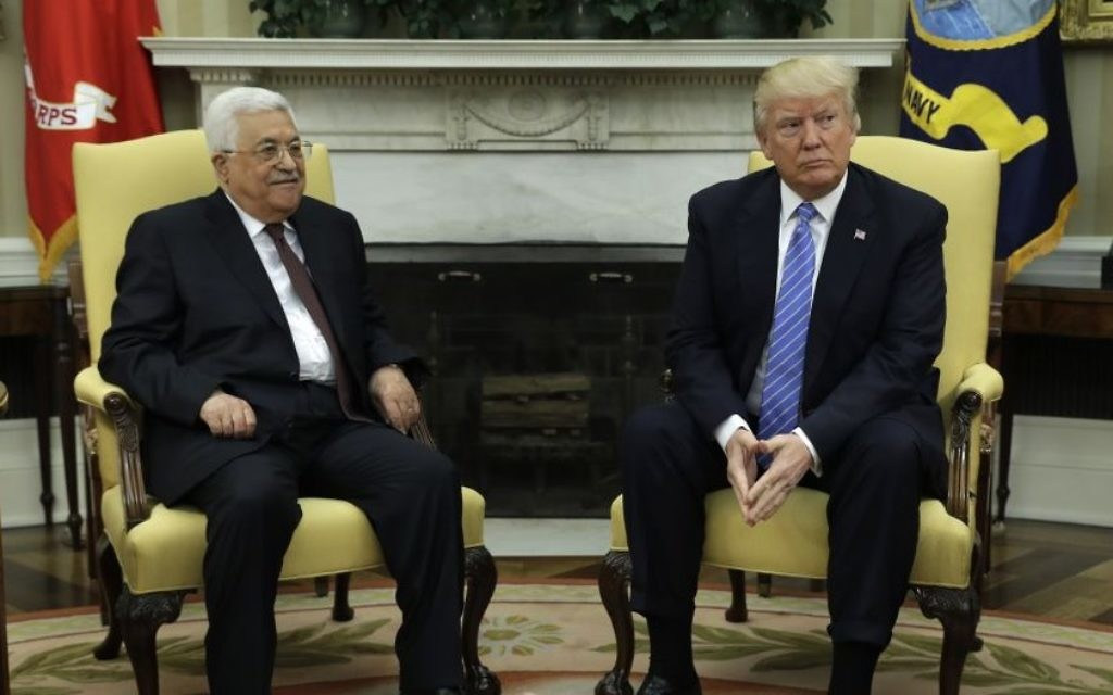 US President Donald Trump meets with Palestinian Authority President Mahmoud Abbas at the White House on May 3, 2017 (AP Photo/Evan Vucci)