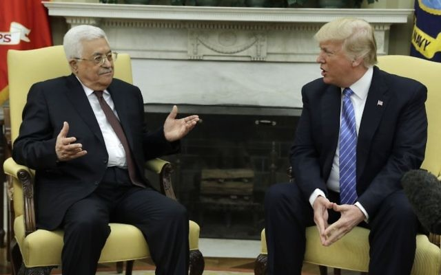 President Donald Trump meets with Palestinian leader Mahmoud Abbas in the Oval Office of the White House, Wednesday, May 3, 2017, in Washington. (AP Photo/Evan Vucci)