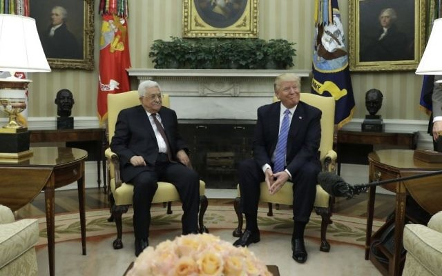 President Donald Trump meets with Palestinian leader Mahmoud Abbas in the Oval Office of the White House in Washington, Wednesday, May 3, 2017. (AP Photo/Evan Vucci)