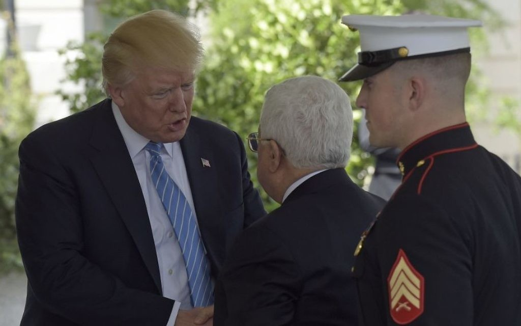 President Donald Trump welcomes Palestinian leader Mahmoud Abbas to the White House in Washington, Wednesday, May 3, 2017. (AP Photo/Susan Walsh)