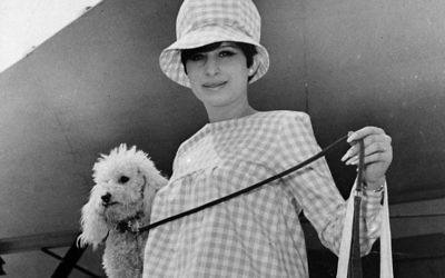 Barbra Streisand with her pet poodle Sadie on July 7, 1966. (AP Photo)