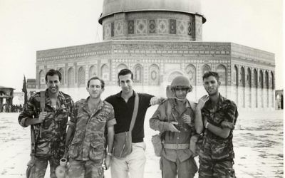 Abraham Rabinovich (center) on Temple Mount, 1967 (photo credit: author's photo)