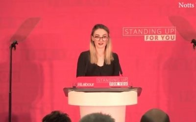Screen capture from video showing General secretary of Nottingham Labour Students Committee Bethany Barker introducing UK Labour party leader Jeremy Corbyn at a campaign rally in Nottingham, April 2017. (YouTube/2Four7)