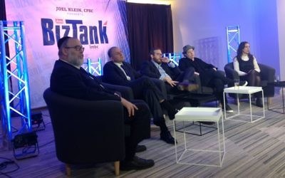 BizTank, a haredi Orthodox version of 'Shark Tank,' brings together a panel of mostly Orthodox Jewish investors to hear pitches from entrepreneurs. (Ben Sales/JTA)