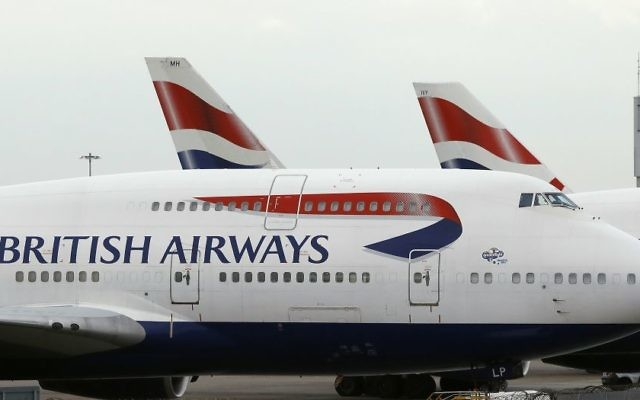 Illustrative. British Airways planes parked at Heathrow Airport, London, January 10, 2017. (AP/Frank Augstein/File)