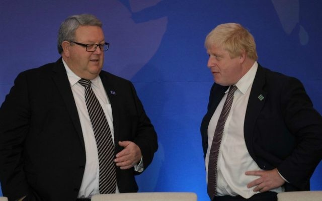 British Foreign Secretary Johnson (r) chats with New Zealand Minister of Defense Gerry Brownlee prior to a working lunch for the Counter-ISIL Ministerial Foreign Ministers, at the U.S. Department of State, in Washington, DC on July 21, 2016. (State Department Photo/Public Domain)