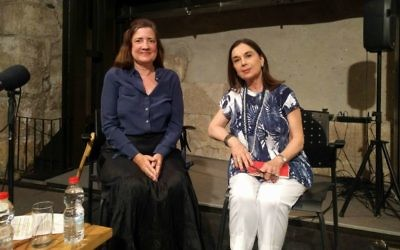 Anne-Marie O'Connor, left, and Ora Ahimeir, just prior to a discussion as part of the Personal Pages: Meet the Authors series at the Tower of David Museum in Jerusalem's Old City, May 15, 2017. (Yaakov Schwartz/Times of Israel)