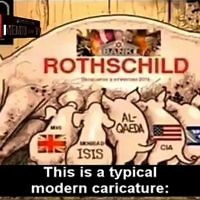 A screenshot from the Russian Channel 1 segment depicting the Rothschilds as a sow, and Israel, the CIA, MI6, ISIS, Al-Qaeda, and Boko Haram as nursing piglets. (Screenshot/MEMRI-TV)