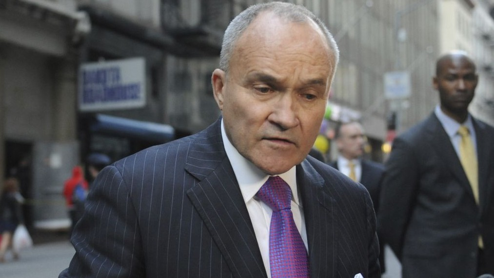 In this April 26, 2013, photo, Raymond Kelly speaks to the media opposite 51 Park Place in New York. (AP/Louis Lanzano)
