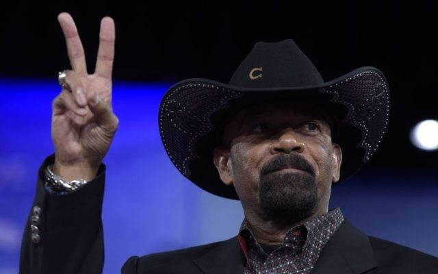 In this Feb. 23, 2017, photo, Milwaukee County Sheriff David Clarke gestures as he speaks at the Conservative Political Action Conference (CPAC) in Oxon Hill, Maryland. (AP/Susan Walsh)