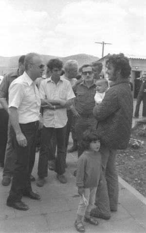 A 1976 photo of prime minister Yitzhak Rabin speaking with Tekoa residents. (Saar Yaacov/GPO)