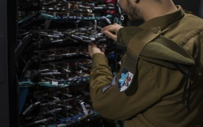 Illustrative. An IDF soldier from the C4I Corps works on a computer network. (IDF Spokesperson's Unit)