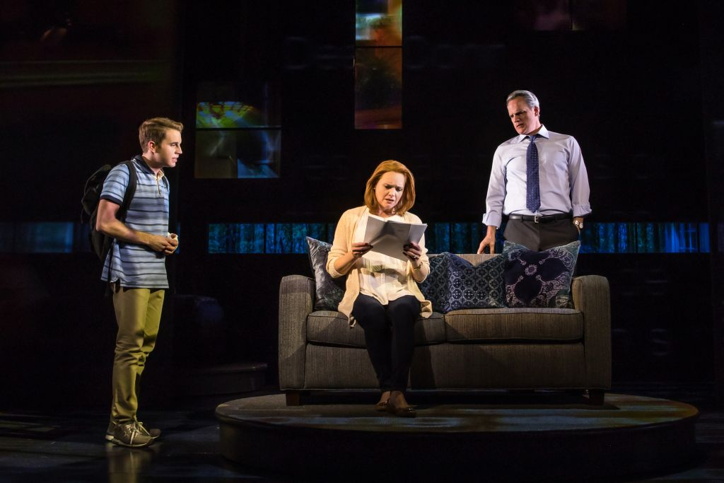 Ben Platt, Jennifer Laura Thompson and Michael Park in 'Dear Evan Hansen.' (Photo credit Matthew Murphy)