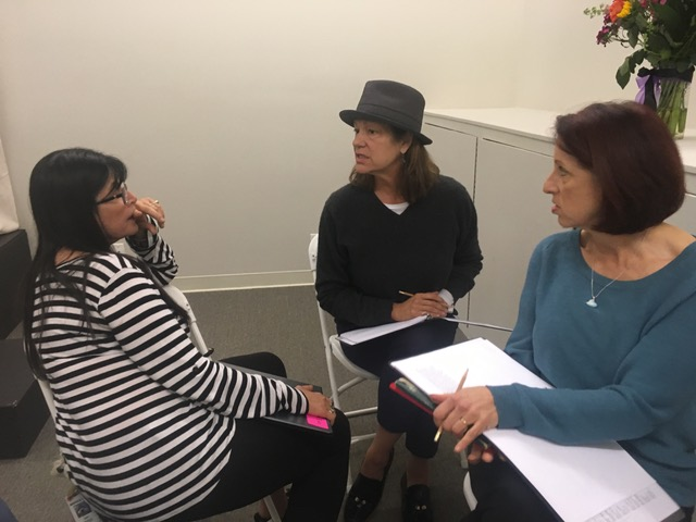 Co-director Eve Brandstein, artistic director Ronda Spinak, and co-director Susan Morgenstern hard at work during rehearsal of 'More Courage.' (Courtesy JWT)