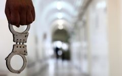 Illustrative. Handcuffs in a courthouse. (Abir Sultan/Flash90)