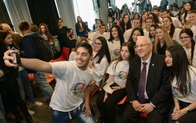 President Reuven Rivlin visited the Google offices in Tel Aviv on the Safe Internet Day, February 10, 2015. (Mark Neyman/GPO)