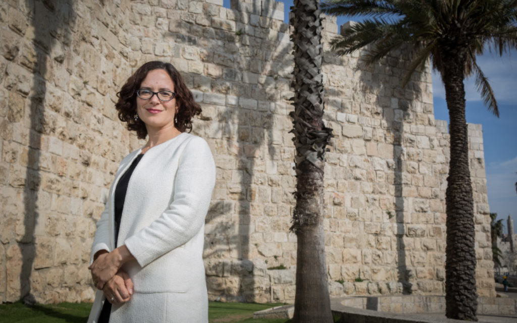 Kulanu MK Rachel Azaria outside the Old City walls in Jerusalem, March 23, 2015. (Hadas Parush/Flash90)