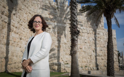 Kulanu MK Rachel Azaria outside the Old City walls in Jerusalem, March 23, 2015. (Hadas Parush/Flash90)