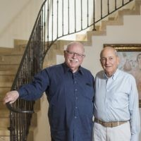 Cofounders of Taglit-Birthright Michael Steinhardt (L) and Charles Bronfman, in Jerusalem on June 4, 2015. (Yonatan Sindel/ Flash90)
