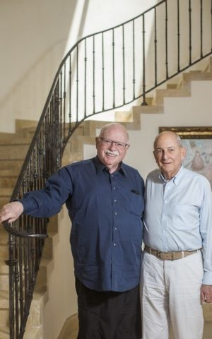 Cofounders of Taglit-Birthright Michael Steinhardt (L) and Charles Bronfman pose for a picture during an interview in Jerusalem on June 4, 2015. (Yonatan Sindel/Flash90)
