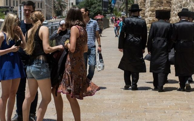 A group of women is passed by a group of Orthodox Jewish men near the Jaffa gate in the Old City of Jerusalem, June 13, 2016. (Zack Wajsgras/Flash90)